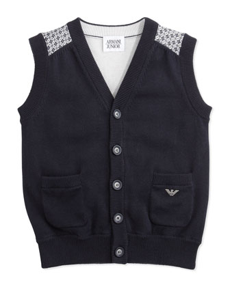 Knit Button-Down Vest, Navy, 2Y-8Y