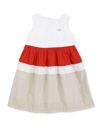 Colorblock Nylon Dress, Multi, Sizes 2-8