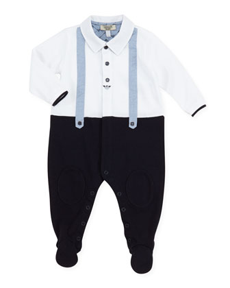 Faux-Suspender Twofer Footie Playsuit, 1m-12m
