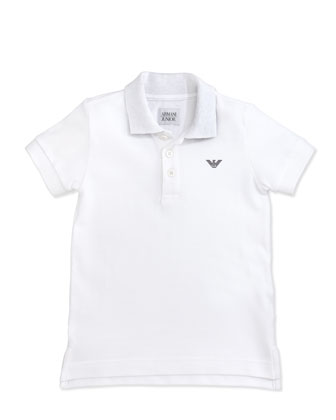 Boys' Basic Polo, White, 2Y-8Y
