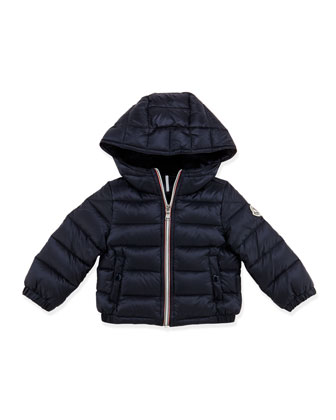 Dominic Stripe-Front Hooded Jacket, Navy, 3-24 Months