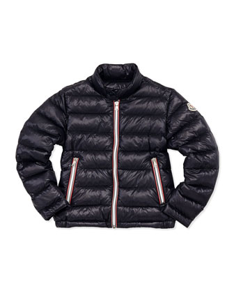 Rigel Stripe-Trim Quilted Jacket, Navy, Sizes 8-10