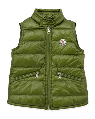 Gui Lightweight Puffer Vest, Dark Green, Sizes 2-6