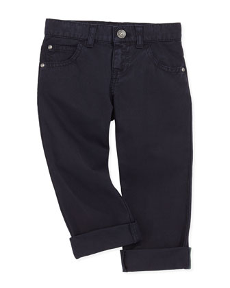Twill 5-Pocket Pants, Navy Blue, 2-8