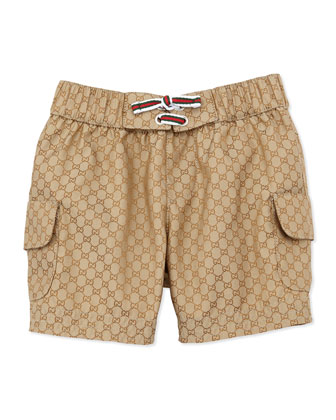 GG Jacquard Swim Trunks, Beige, 0-24 Months