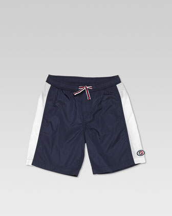 Nylon Swim Trunks, Navy/White