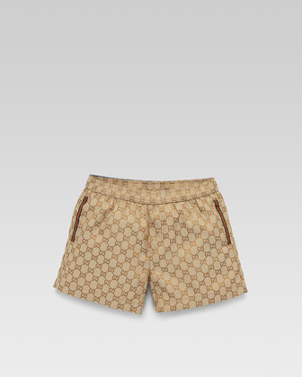 GG Jacquard Swim Trunks, Beige