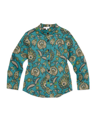 Stretch-Cotton Paisley-Print Shirt, Boys' 4Y-10Y