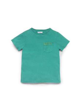 Washed Cotton-Jersey Tee, Green, Sizes 4-10