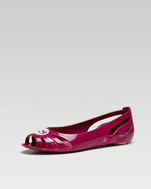 Youth Cutout Rubber Ballet Flat, Fuchsia