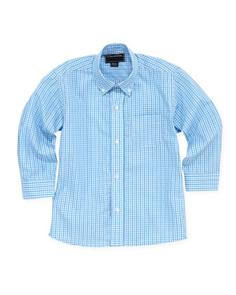 Boys' V-Neck Pullover Sweater, Gingham Sport Shirt & Brushed Poplin Shorts