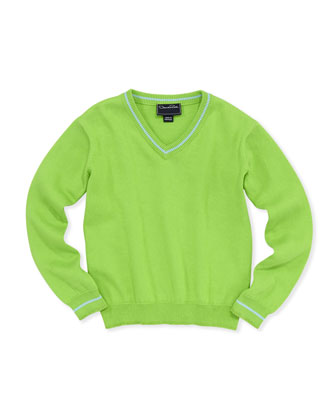 Boys' V-Neck Pullover Sweater, Apple, 2Y-10Y