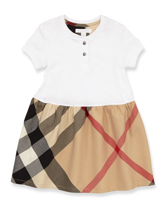 Toddler Girls' Henley Dress, White