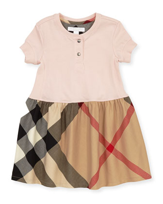 Toddler Girls' Henley Dress, Pink, 2Y-3Y
