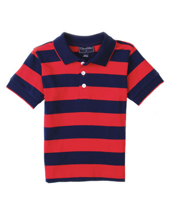 Baby Boys' Wide-Stripe Polo, Navy, 12-24 Months