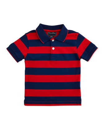 Wide-Stripe Polo, Navy, Boys' 2Y-10Y