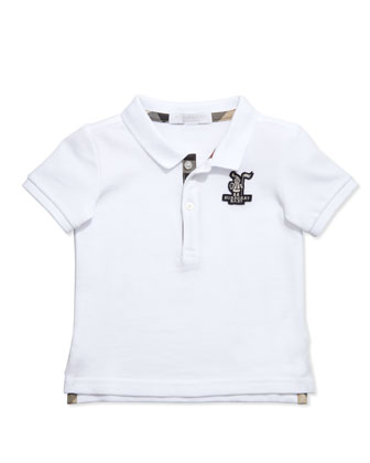 Boys' Check-Trim Polo, White, 2Y-3Y