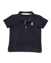 Palmer Boys' Check-Trim Polo, Navy, 2Y-3Y