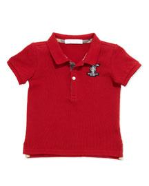 Palmer Boys' Check-Trim Polo, Red, 2Y-3Y