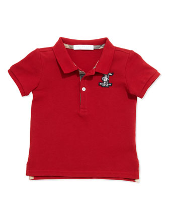 Infant Boys' Check-Trim Polo, Red, 6-18 Months