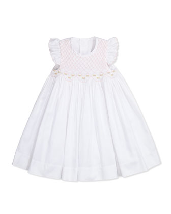 Brianna Smocked Dress, White
