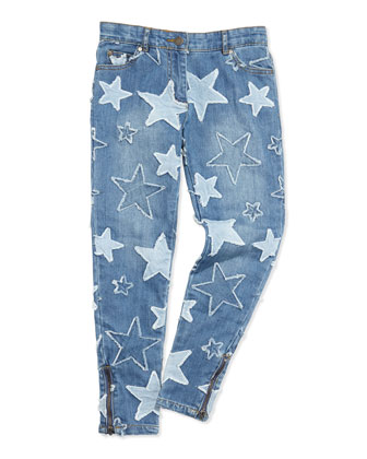 Nina Star-Patch Jeans, Sizes 2-10