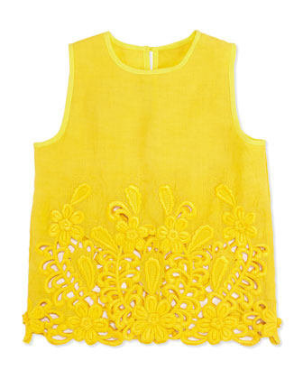 Thelma Sleeveless Lace Blouse, Yellow, Girls' 2T-10