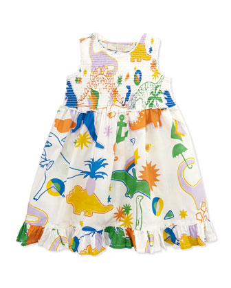 Dinosaur-Print Smocked Dress, 3-24 Months