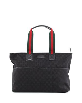 GG Supreme Canvas Diaper Bag, Black