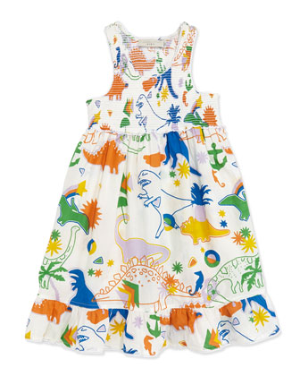 Dinosaur-Print Smocked Dress, Sizes 2-10