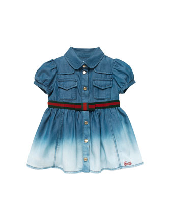 Ombre-Denim Dress with Web-Belt, Blue, 0-24 Months