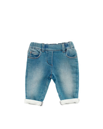 Stretch-Denim Leggings, Blue, 0-24 Months