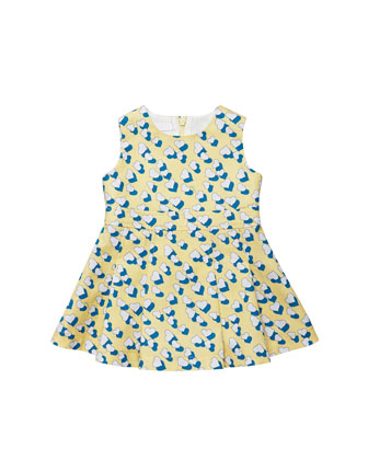 Heartbeat-Print Cotton Dress, Yellow/Blue/White, 0-24 Months