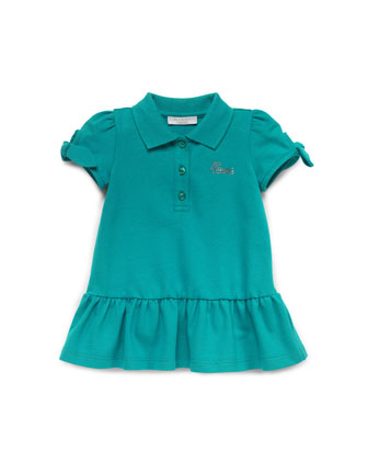 Stretch-Pique Polo Dress, Green, 0-24 Months