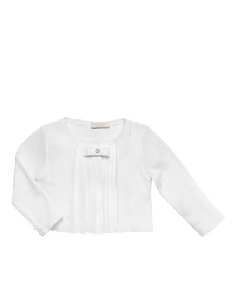 Pleated Bolero Jacket, White, 0-24 Months