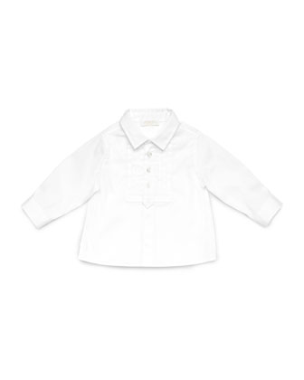 Pleated-Bib Tuxedo Shirt, White, 0-24 Months