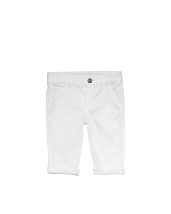 Denim Web-Detail Jeans, White, 0-24 Months