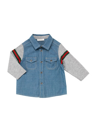 Washed Chambray Combo Shirt, Blue, 0-24 Months