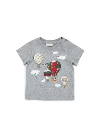 Hot-Air Balloon Printed Tee, Light Gray, 0-24 Months