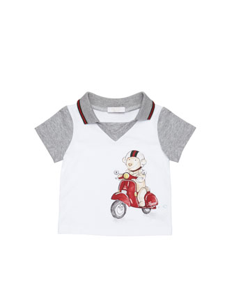 Teddy-Bear-Scooter-Print Polo, White, 0-24 Months