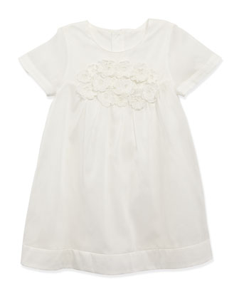 Cotton-Organdy Dress, White, Sizes 2-5
