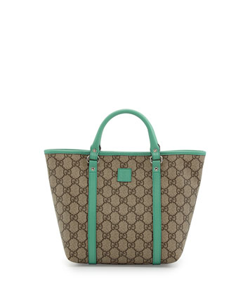GG Supreme Canvas Kid's Tote Bag, Green