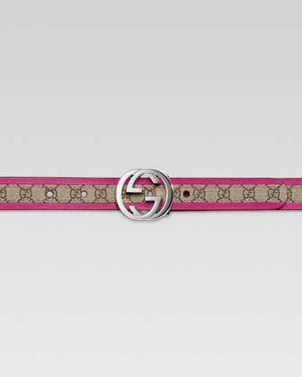 Girls' GG Leather-Trimmed Belt, Beige/Magenta