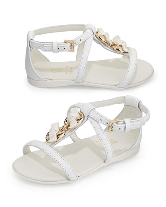 Leather Marina Chain Sandal, White