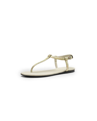 Crackled Metallic Leather Thong Sandal, Black