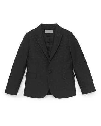 Pindot and GG Jacquard Jacket, Black, Sizes 4-10
