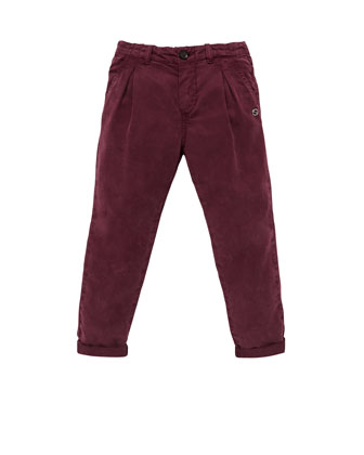 Velveteen Pleated Pants, Purple, Sizes 4-10