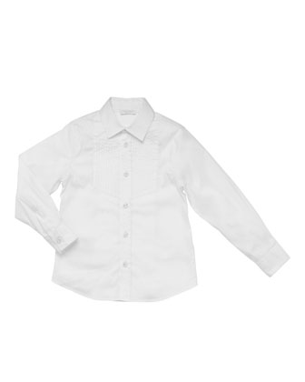 Long-Sleeve Tuxedo Shirt, White, Sizes 4-10