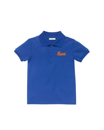 Gucci-Script Pique Polo, Blue/Orange, Sizes 4-10