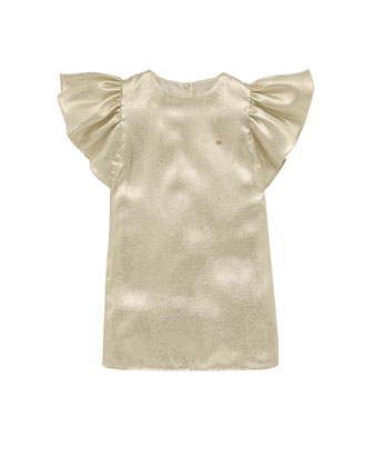 Liquid-Metallic Ruffle-Sleeve Dress, White, Sizes 4-10
